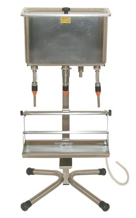 3 head bench top gravity feed filler