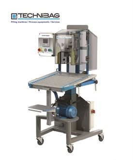 Premia Top 420 Semi-automatic filling machines for vacuum bags & pouches - NB Supplied with tilted stainless steel platform as standard, as opposed to the roller table shown