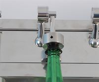 6 head stainless steel linear syphon filler showing bottle (not included)