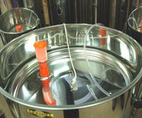 Float lid shown in a Speidel variable capacity stainless steel tank (available separately) - airlock and bung also available separately