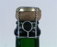 Champagne wire muzzles/cages with metal cap shown with champagne cork (available separately) - PLEASE NOTE THE METAL CAPS SUPPLIED ARE SILVER COLOUR, NOT THE GOLD SHOWN IN THE IMAGE