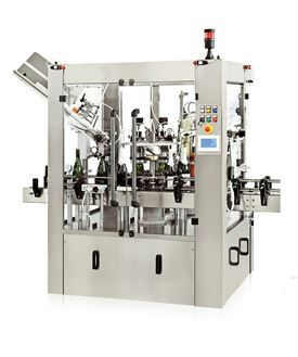 Automatic semi-rotary labelling machine for champagne bottles