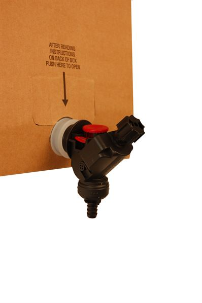 Vitop connector, shown being connected to tap of bag-in-box